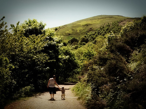 Mum and child walking in the Malvern Hills