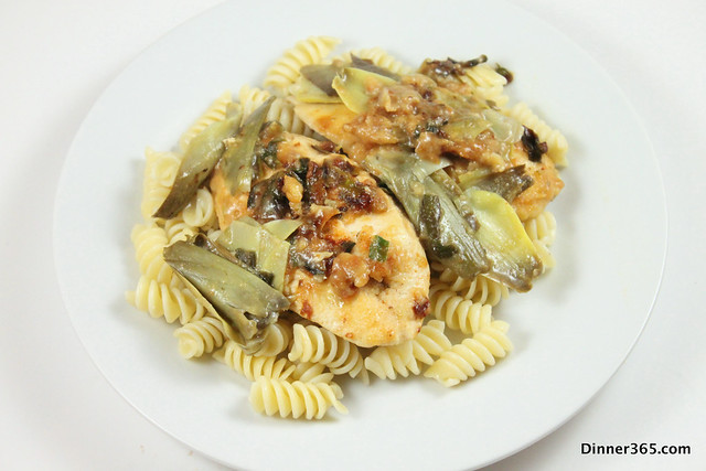 Day 117 - Artichoke Chicken on Pasta