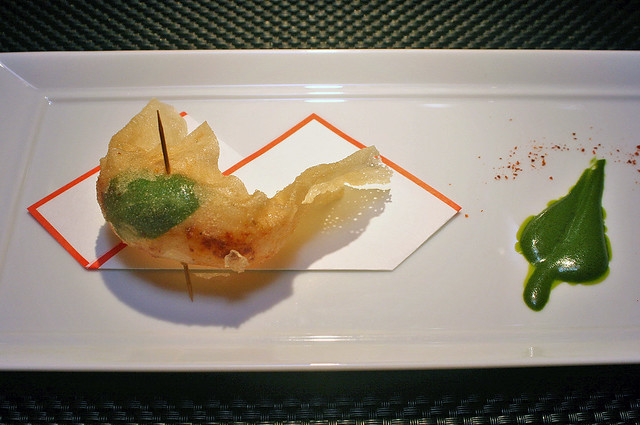 Crispy langoustine fritter with basil pesto