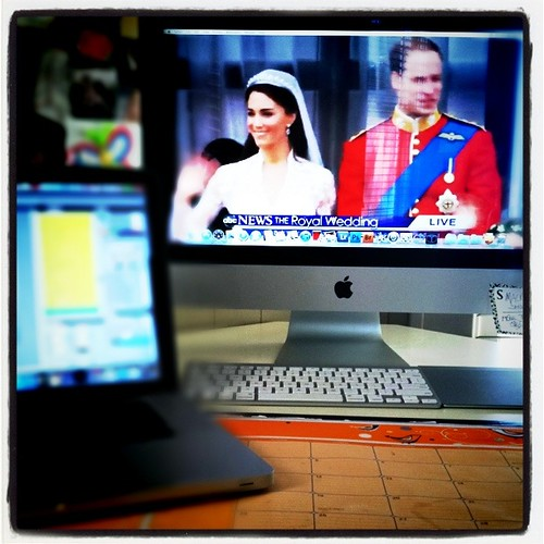 . the royal wedding while working .
