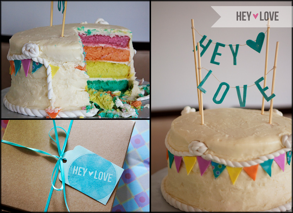 Hey Love's First Birthday Party - rainbow layer cake!