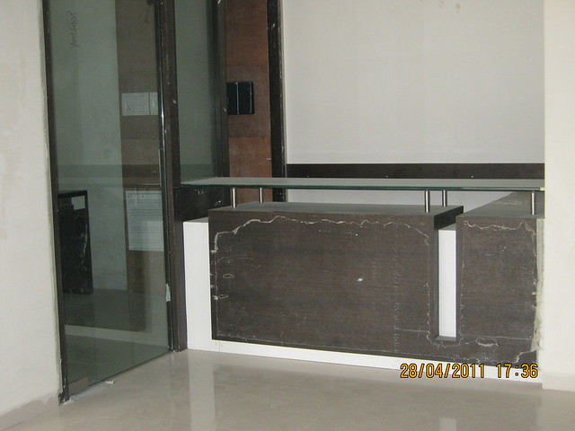 Reception and seating for the visitors in the reception of B Tower in Sangria at Megapolis Hinjewadi Phase 3, Pune