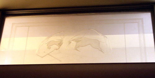 Queen Mary - Former Starboard Writing Room (Now Restroom) - Original Glass Panel (Cave Paintings)