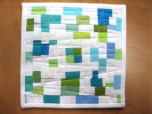 Random squares mug rug