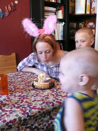 Blowing out the candles on my birthday cake