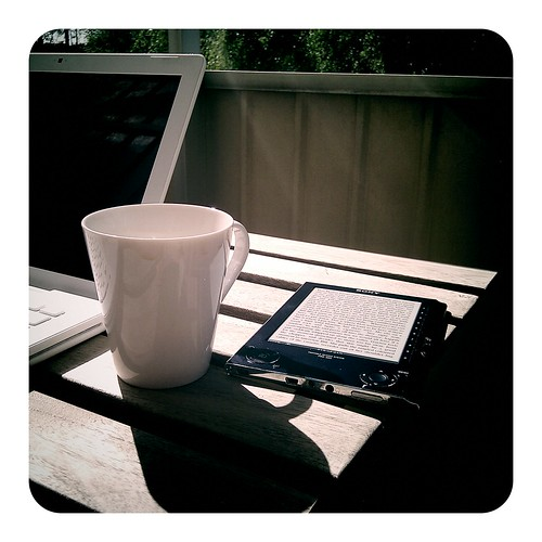 Reading instapaper on the balcony