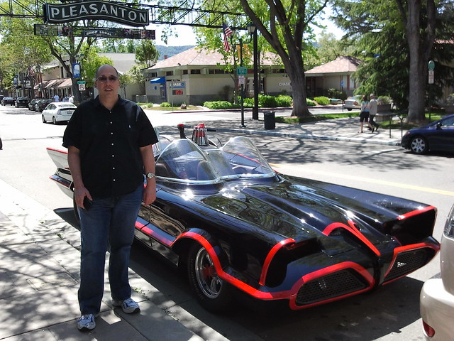 Giant Size Geek next to the Batmobile in Pleasanton
