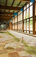 lounger (helveticaneue) Tags: windows orange ny newyork green abandoned pool hotel moss chairs decay may resort newyorkstate ferns catskills lib checkered gs loungechair borschtbelt 2011 borschtbeltresort