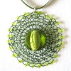 Stitched bead pendant - Judith Brown (judithbrown) Tags: pendant handmadejewellery ribbonnecklace greenpendant wireearrings stitchedwire longearringswirejewellerybeadshandmadejewelleryhandstitched