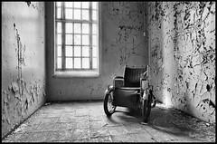 Electric Chair (Davidap2009) Tags: leica blackandwhite abandoned norway electric wheelchair noflash creepy spooky mp ilfordxp2 psychiatric 400asa mentalhospital novoflex v700 leicamp davidwilliamson analoguephotography nikkor20mmf28 liermentalsykehus