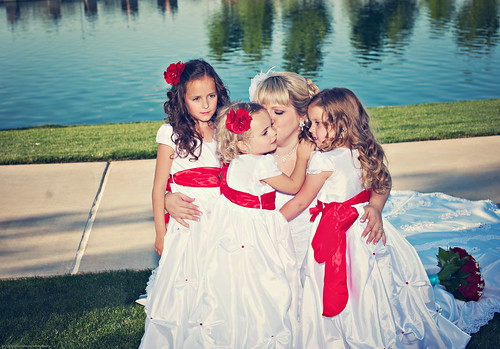 Bride and the little girls