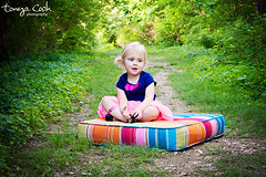 (tonya cook photography) Tags: park trees plants baby sun color green nature girl smile face grass sunshine fun outdoors kid spring eyes toddler colorful child bright outdoor path stripes pop pillow trail foilage cushion tutu portrat
