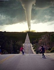 Into the storm. (David Talley) Tags: lighting street trees light sunset people guy field rain composite birdie clouds photoshop dark golf photography long skateboarding board extreme evil guys rainy golfing skateboard 365 longstreet tornado epic boarding dervish edit loaded longboarding tornadoes longboardlarry heavyedit tornadoalley 365project loadedboards davidtalley epicclouds bighiil