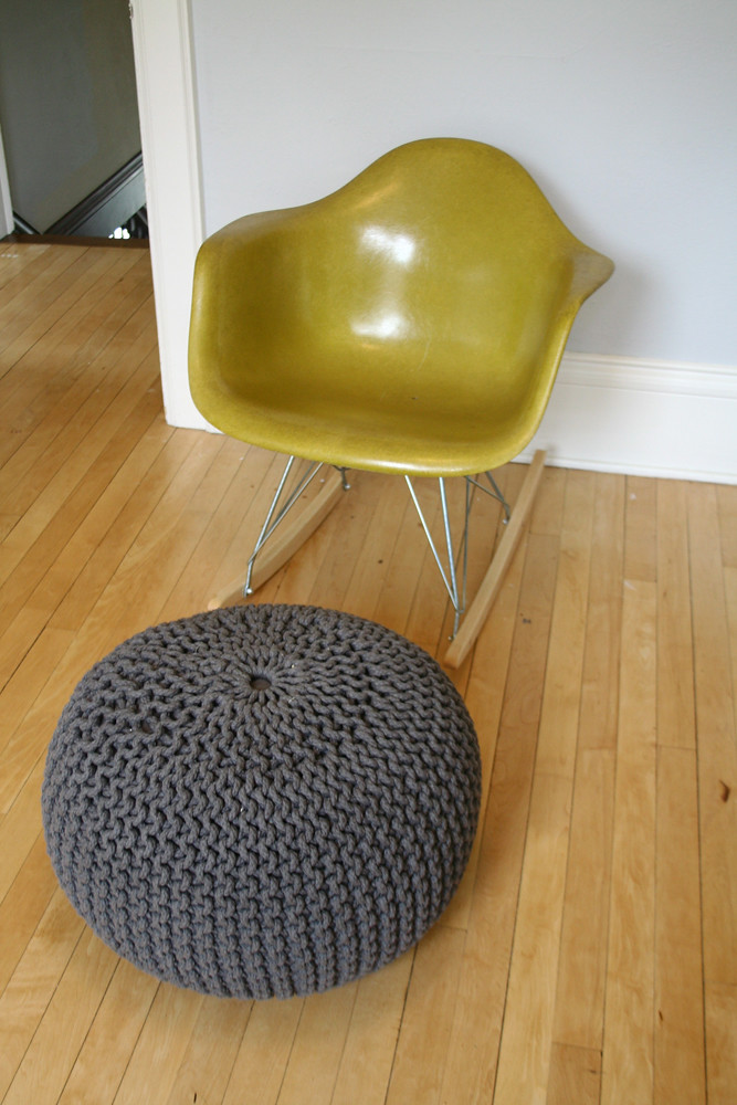 Vintage Eames Chair (with rocker base) & Pouf