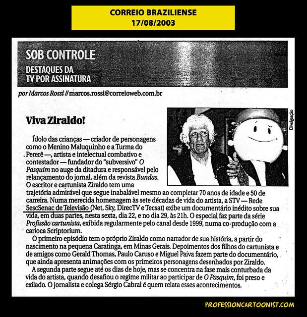 """""""Viva Ziraldo!"""" - Correio Braziliense - 17/08/2003"""