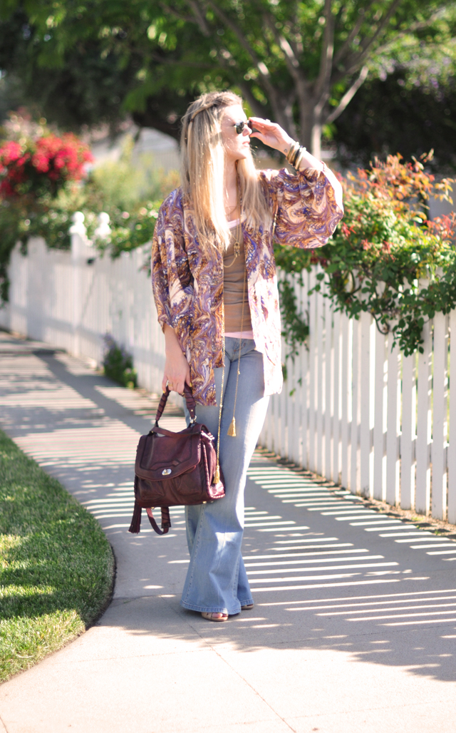bohemian look + flared jeans and aviators