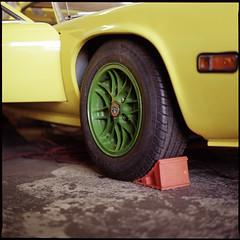 . (Ansel Olson) Tags: two green 6x6 mamiya tlr film car wheel yellow vintage mediumformat concrete europa floor lotus kodak garage tire workshop series portra sportscar 220 c330 160nc c330s autaut mamiyasekor80mmf28