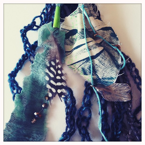 freestyle chrochted wool fibers with my fabric embellishments
