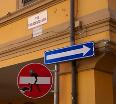 Clet Abraham (Renato Morselli) Tags: city italy streetart art arte bologna cartello città emiliaromagna divieto clet cletabraham