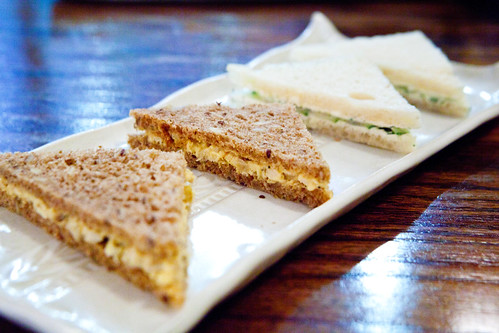 Dill & Cucumber and Chicken with golden raisins & curried mayo tea sandwiches