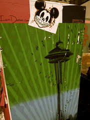 smile seattle (rbranchini) Tags: seattle colors birds poster sticker mickeymouse spaceneedle pikeplacemarket ryanbranchini