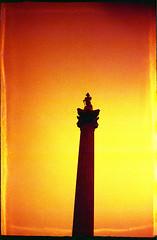 nelson (jon.workman) Tags: uk red urban london film water statue 35mm lomo lomography lion trafalgar nelson silouette national analogue fountains russian 8m smena redscale