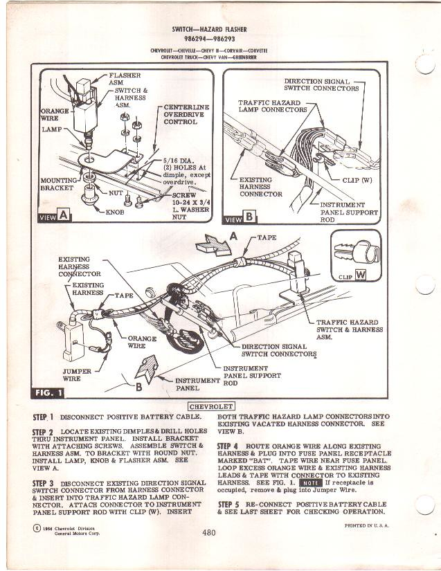 hazard lights chevytalk restoration and repair help for here is the instruction sheet from the 1965 dealership accessories catalog printed 1964