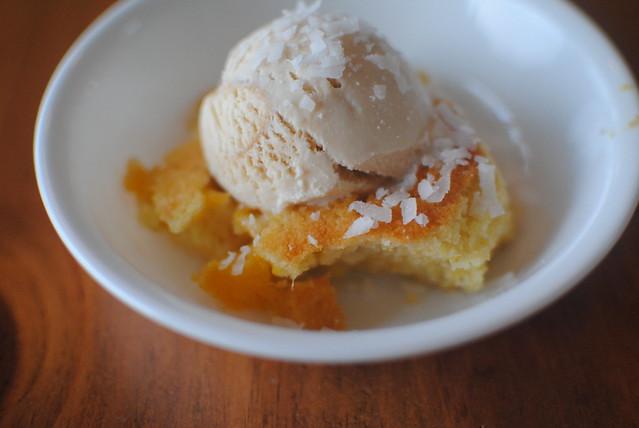 peach/cornbread dessert