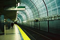 Green Line (a l e x . k) Tags: light green film station boston subway pentax north platform rail line lx fa43mmf19