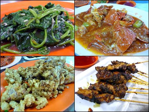 Gee Seng, Bukit Tambun - vege, crabs, mantis prawns, satay