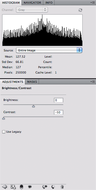 Grayscale with low contrast - histogram