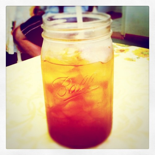Trying out the new restaurant in our village. Iced tea in Mason jars!