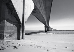 Umbilical Cord (PeterJ) Tags: bridge blackandwhite bw france french olympus larochelle ileder 2011 charentemaritime rivedoux poitoucharentes epl1 918mm frompeterj