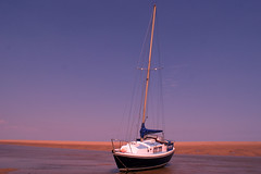 A day at the seaside (Mrs. Noah) Tags: uk sunset sea summer holiday beach water sunshine relax boat sand peace yacht ripples mast eastcoast cleethorped