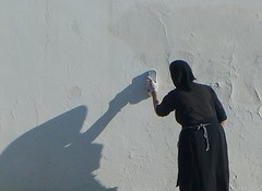 Prepare .... (Simos1968) Tags: old woman wall painting whitewall