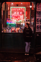 Woman in front of The Original Soho Bookstore Private XXX Preview Booths Sign - Soho, London UK (ChrisGoldNY) Tags: street city uk greatbritain travel viaje windows people urban signs london english portraits canon lights women neon erotic forsale unitedkingdom britain candid soho jeans converse gb albumcover british nightlife bookcover bookcovers bookstores albumcovers consumerist licensing peacoat englan chrisgoldny chrisgoldberg chrisgoldphoto chrisgoldphotos