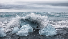 Icy wave breaker (marko.erman) Tags: jkulsrln iceland islande glacier iceberg ice shore black sand beach ocean sea waves landscape lagoon atlantic panorama beautiful nature serenity calm outside wavebreaker sony drops vatnajkullnationalpark