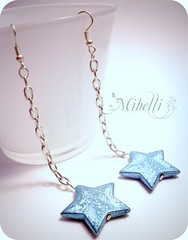 Twinkle (Miblli) Tags: blue white silver star earrings