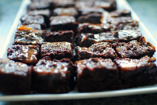 the perfect batch of caramel salted brownies