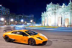 LP670 at Night (Thomas van Rooij) Tags: madrid lighting city longexposure light orange car night photography spain puerta nikon photoshoot nightshot thomas centre automotive super exotic experience nikkor lamborghini supercar sv murcilago alcala 18105 fotoshoot lifetime veloce puertadealcal dreamcar d90 hypercar rooij superveloce lp6704 lp670 thomasvanrooij