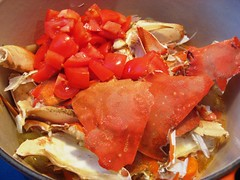Crab shell and tomatoes