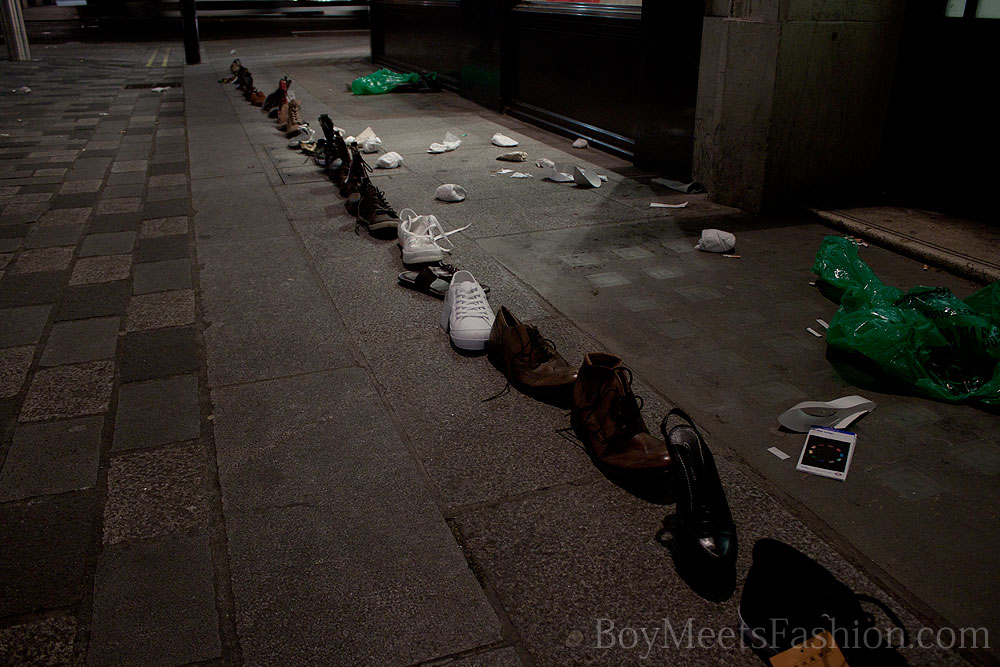Random shoes left on the Heddon street at night!