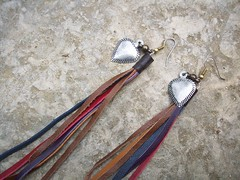 DREAM Heart earrings with colorful, long leather tassel, customizable length (piecemaker jewelry) Tags: jewellery heartearrings handcraftedjewelry leatherearrings piecemakerjewelry colorstripsofleather