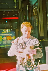 (Pint of Cream) Tags: camera new uk pink light portrait england people urban dog white man color colour english film dogs up fashion analog 35mm hair newcastle fun person photography 50mm spring holding close bright dom sunny dude shirts 35mmfilm wilson british toon folks younge 50mmlens russan prakticaplnovai domwilson wwwdomwilsoncom domwilsoncom