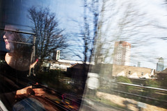 The falling city... (Che-burashka) Tags: street city people urban woman motion blur reflection london window girl speed train looking nops nomanipulation londonist spn spnp canonef28mmf18usm streetphotographynow cityspeed streetphotographynowproject