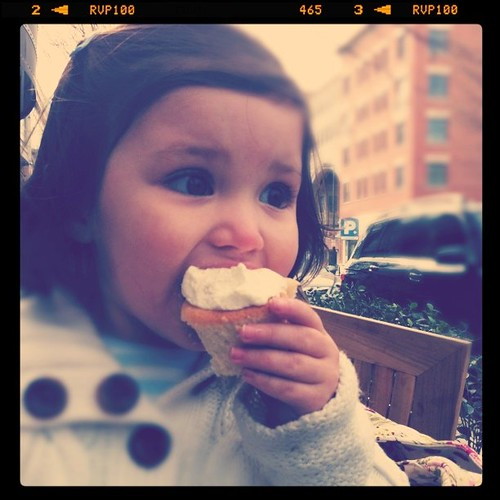 Izzy eating her cupcake
