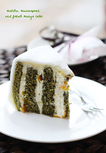 sliced green tea and mango cake