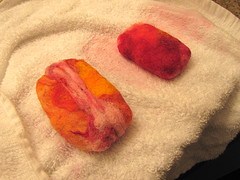 Making felted soap