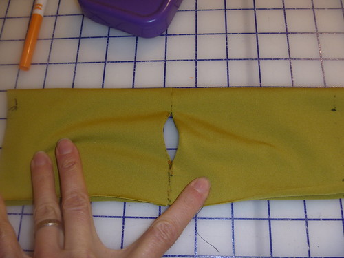 right sides together with thumb hole