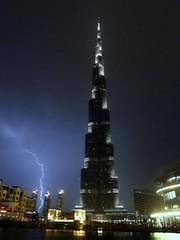 Burj Khalifa, Dubai   lightning        (Sir Francis Canker Photography ) Tags: world trip travel blue panorama storm tower art tourism monument skyline architecture night skyscraper island twi